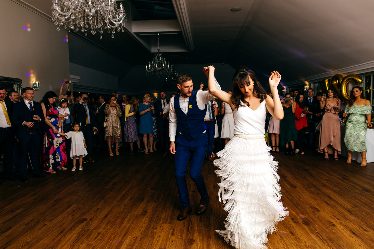 Charlie Brear skirt on dance floor during first dance