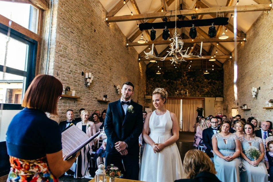 Merriscourt Wedding Ceremony in great barn