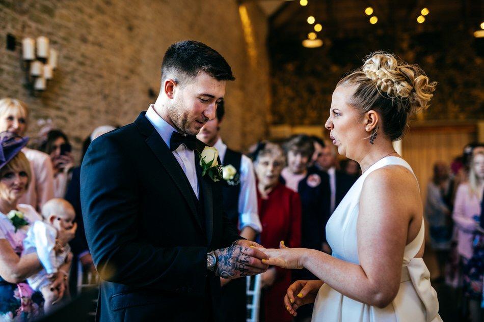 Funny ring shot at Merriscourt Wedding