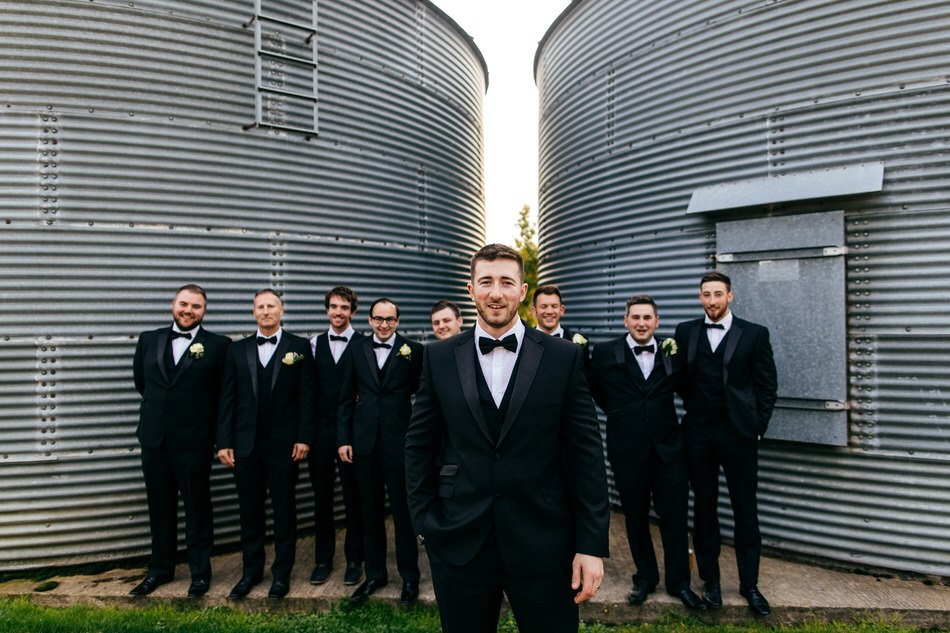 Groom and boys in tuxedos at Merriscourt Wedding