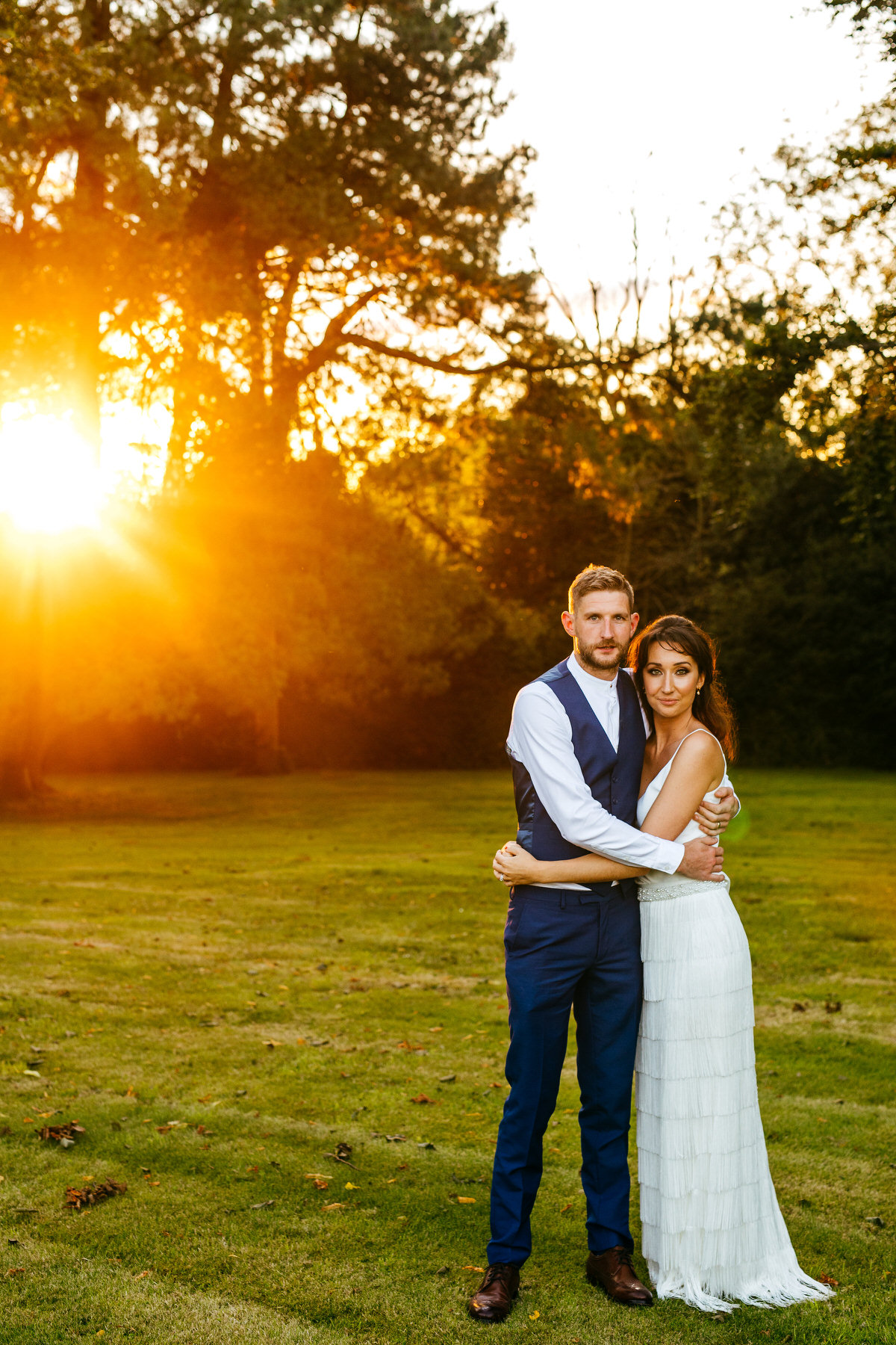 Golden Hour Portrait of Bride and groom at Barton Hall near Kettering