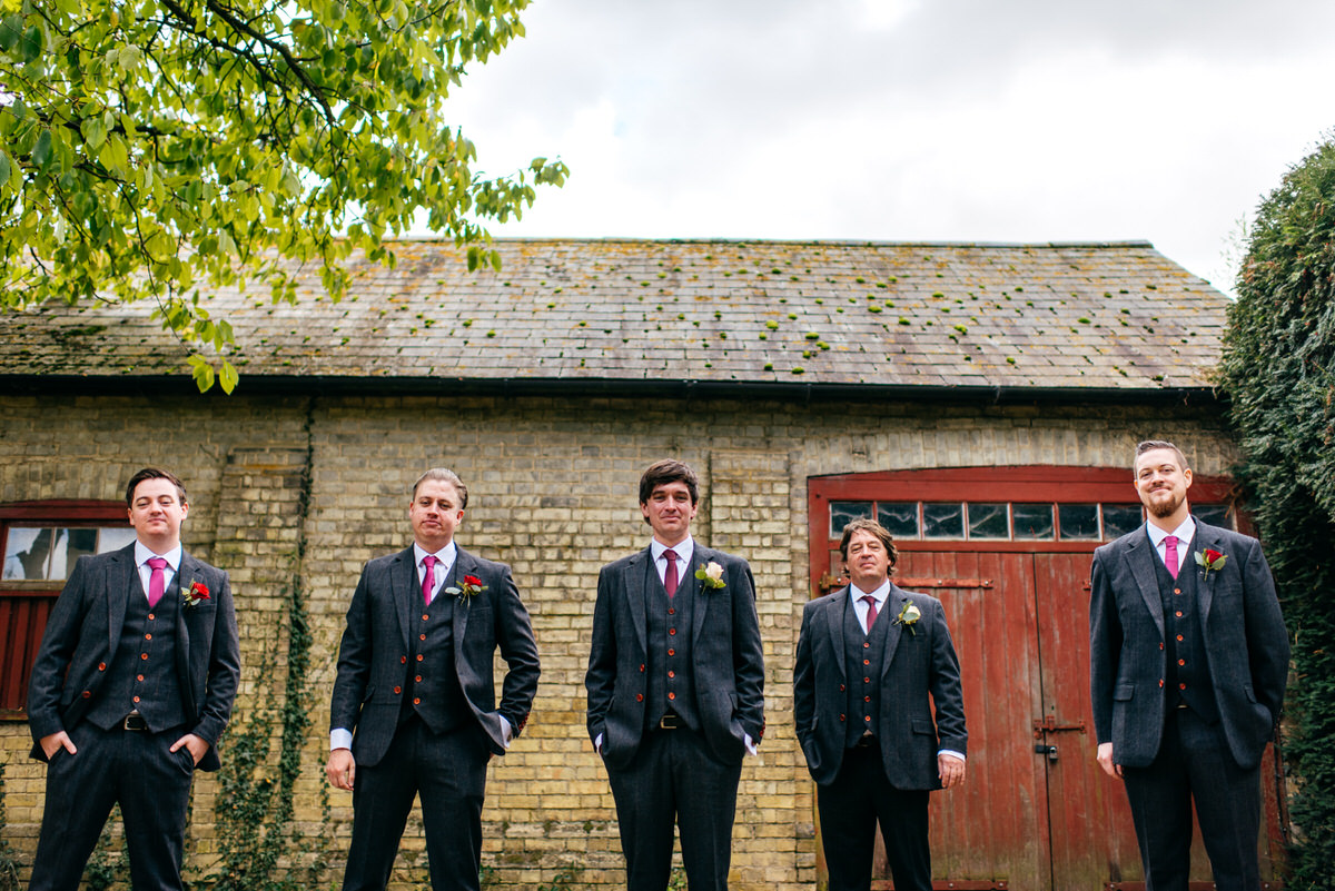 Groomsmen at South Farm Wedding in Autumn. ALl in Tweed suits