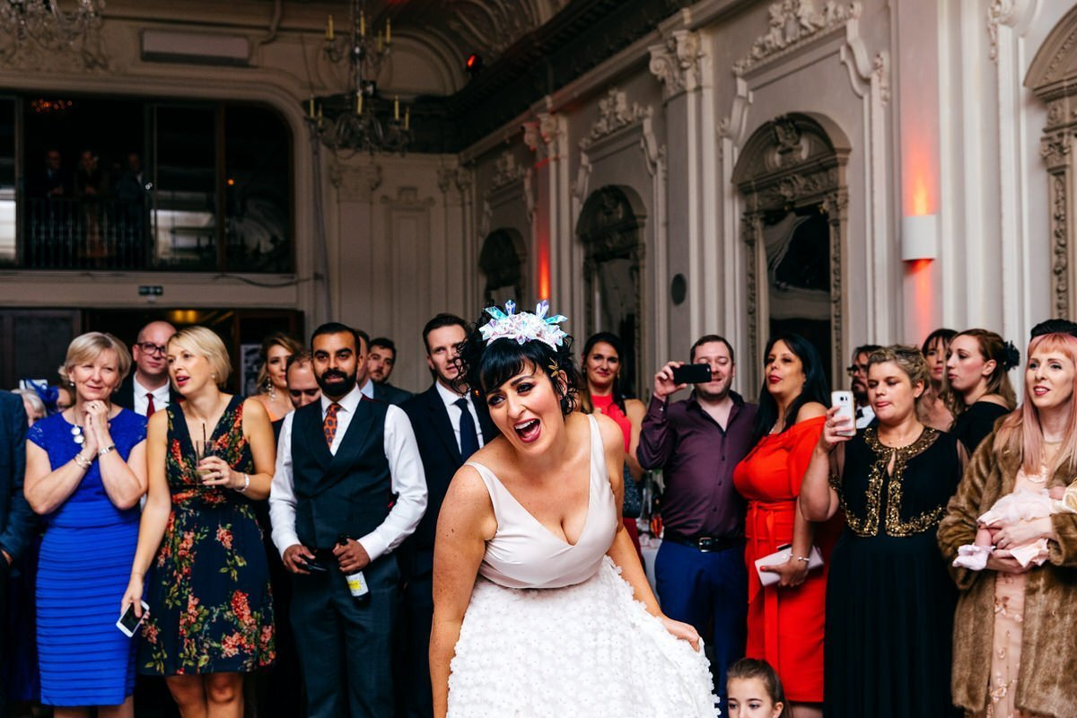 Bride in cool headpiece at her Bush Hall Wedding