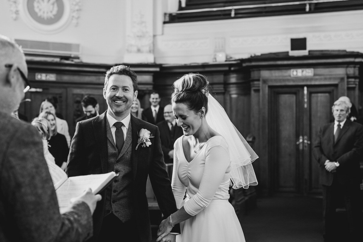 Islington Town Hall Wedding Photography Bride and Groom