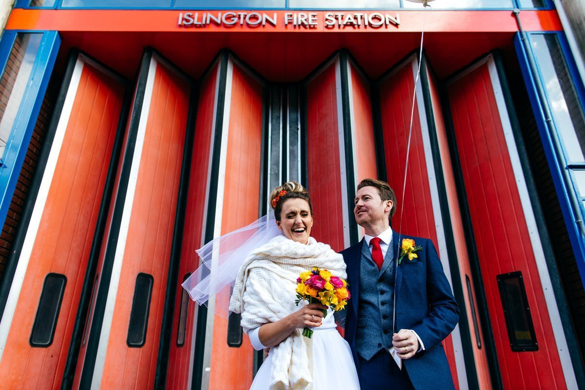 Bride in handmade winter shawl for Islington Metalworks Wedding