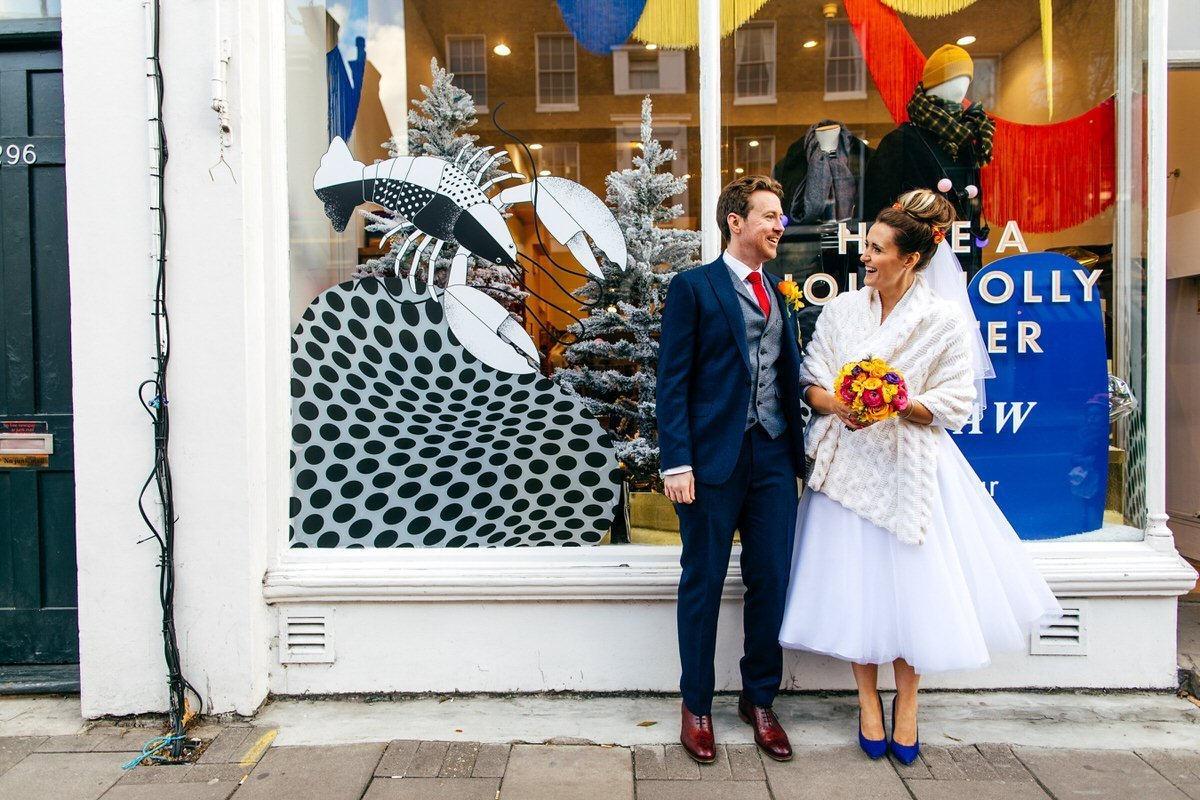 you're my lobster couple on their way to Islington Metalworks Wedding