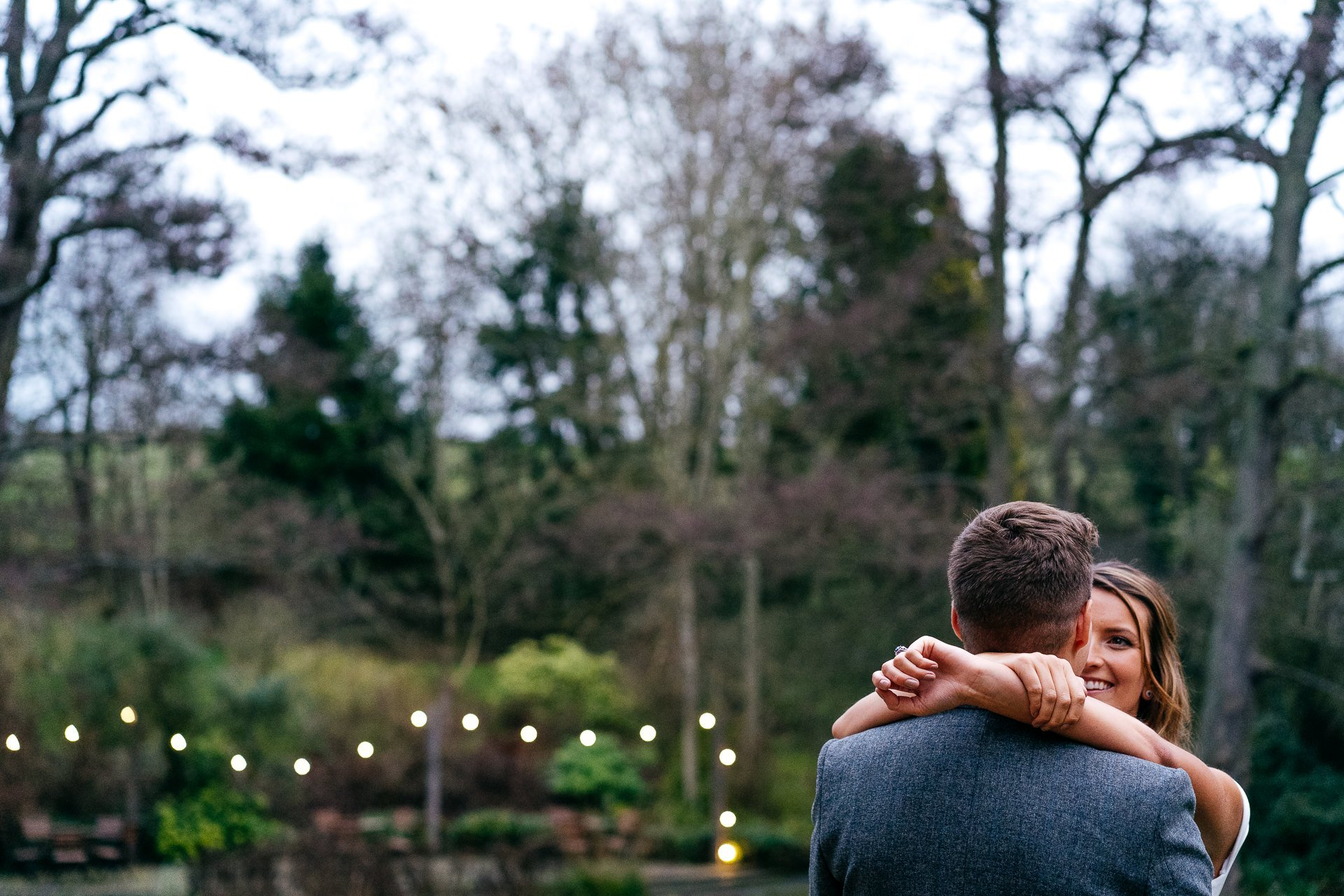 Couple hugging at The Mill Barns Wedding Venue Shropshire