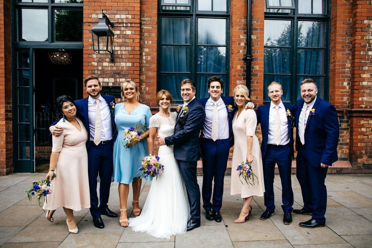 Bridal party outside Great John Street Hotel Wedding