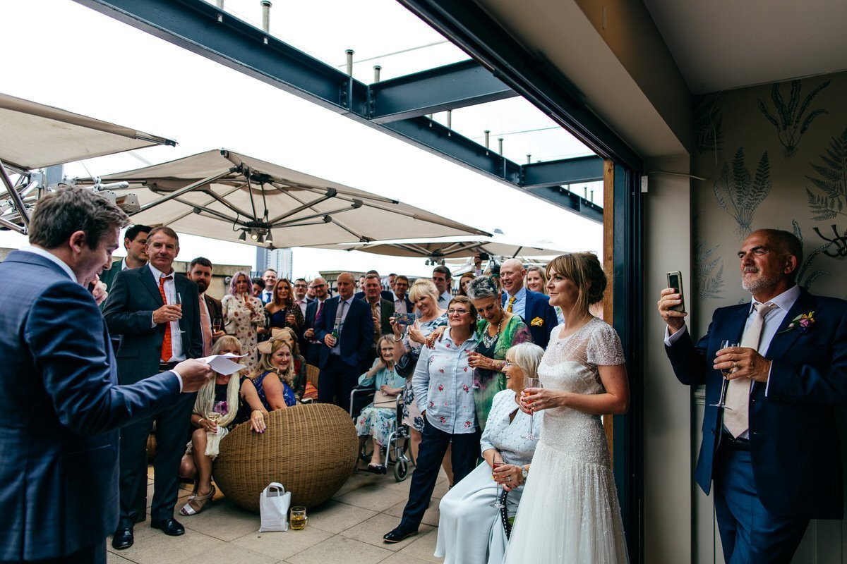 Speeches on roof terrace of Great John Street Hotel Wedding