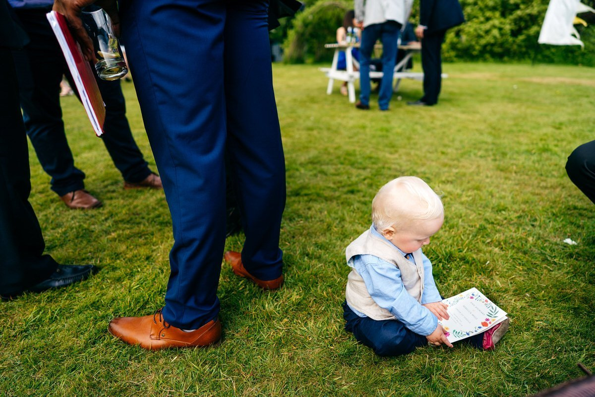 Baby reading order of the day at Sparkford Hall Wedding