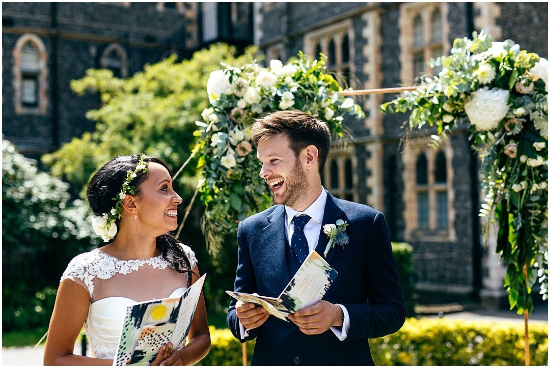Super couple smiling at their Humanist Wedding at Brighton College