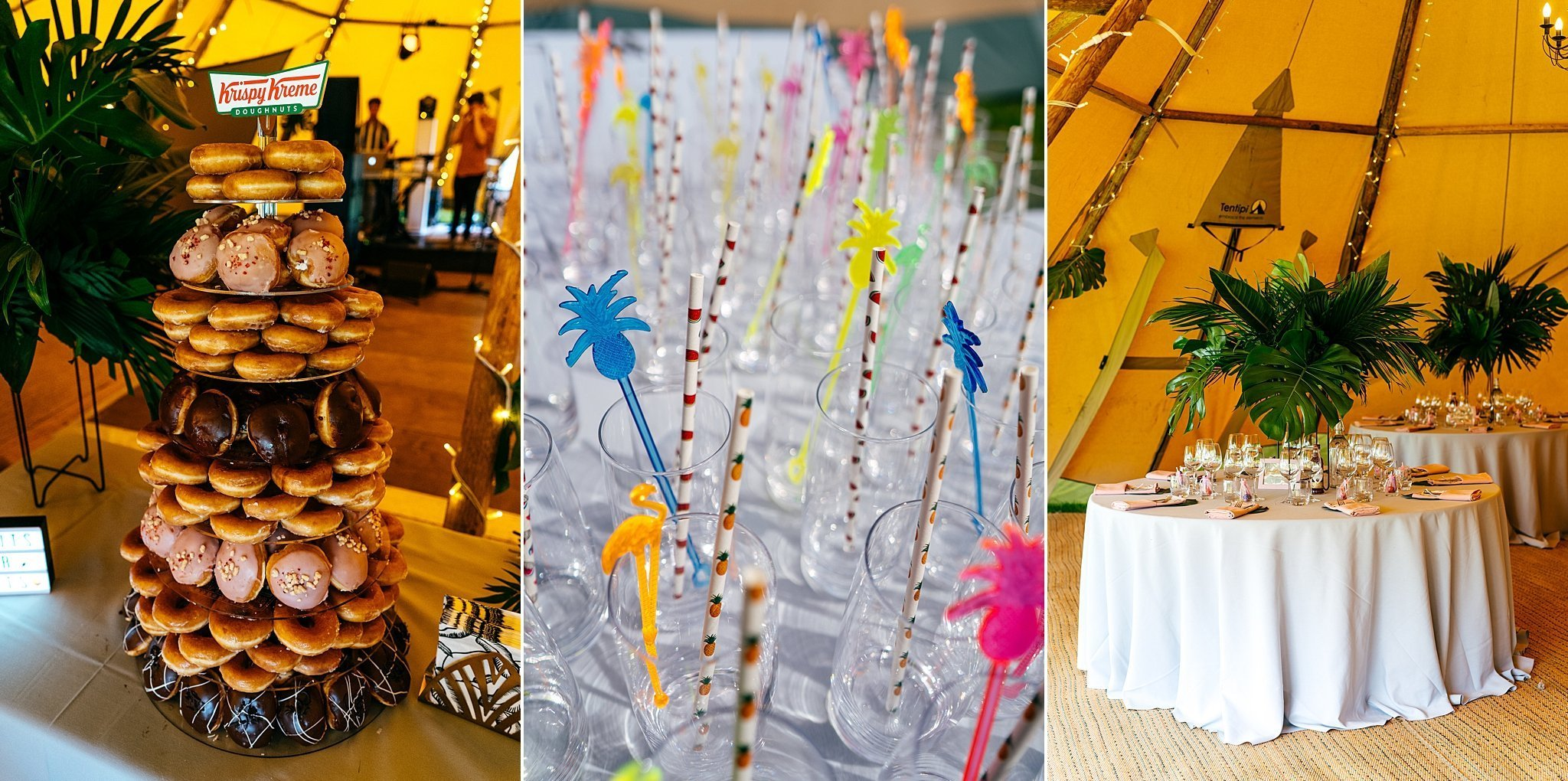 Wedding details at Escheat Farm Wedding Palms and Doughnut Tower