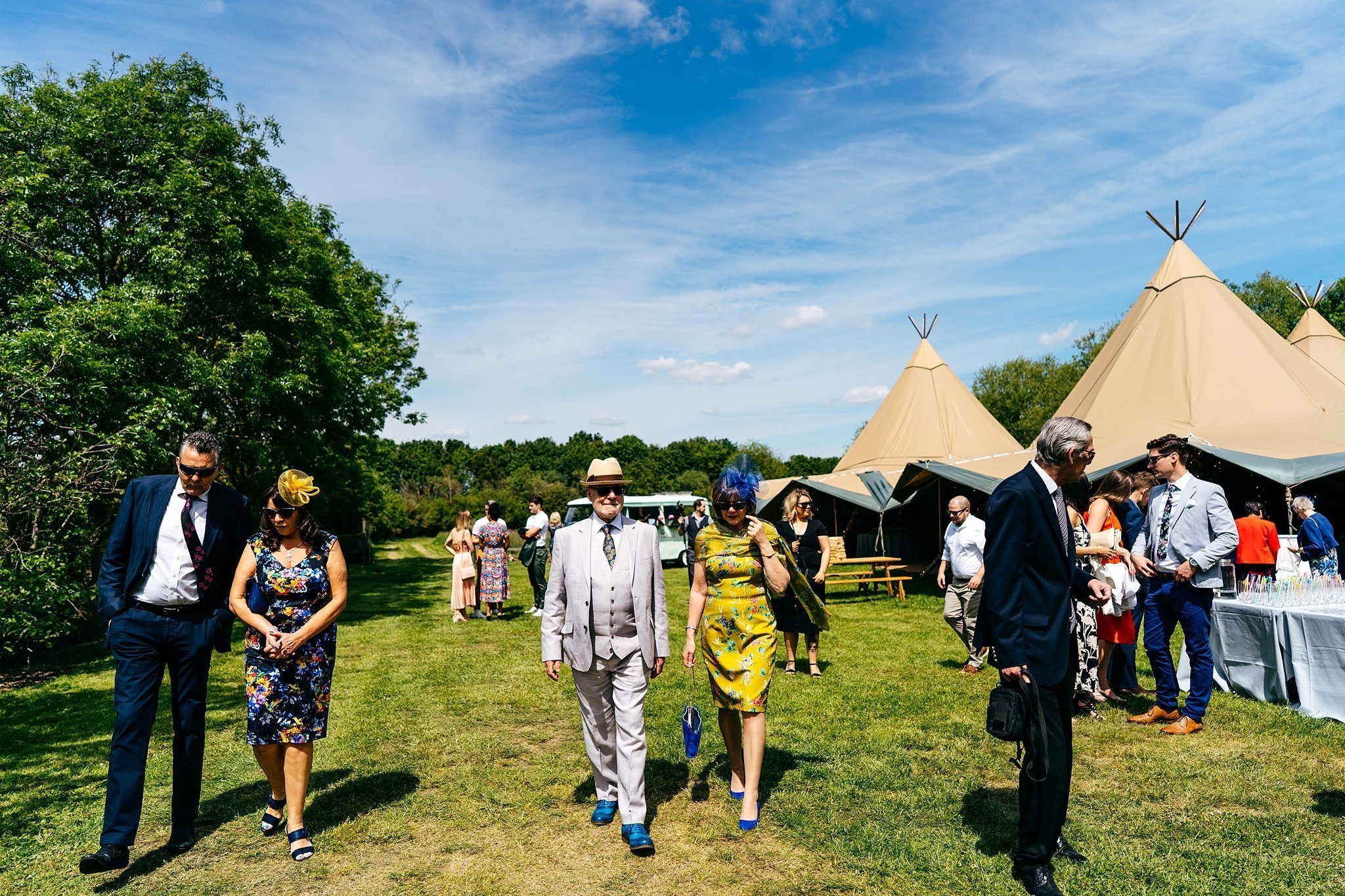 Tipi in field at Escheat Farm Wedding