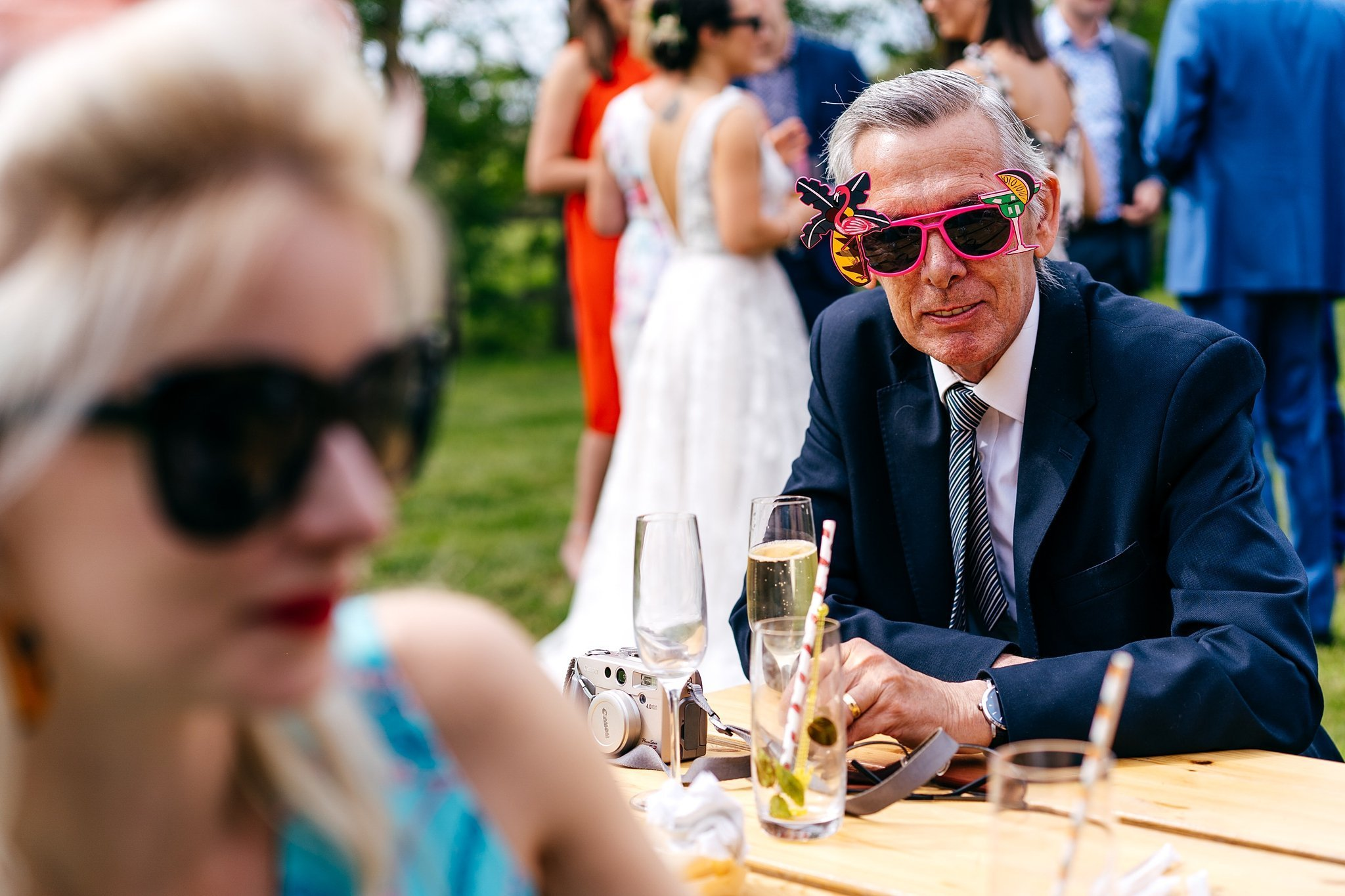 Guest playing it cool at Escheat Farm Wedding