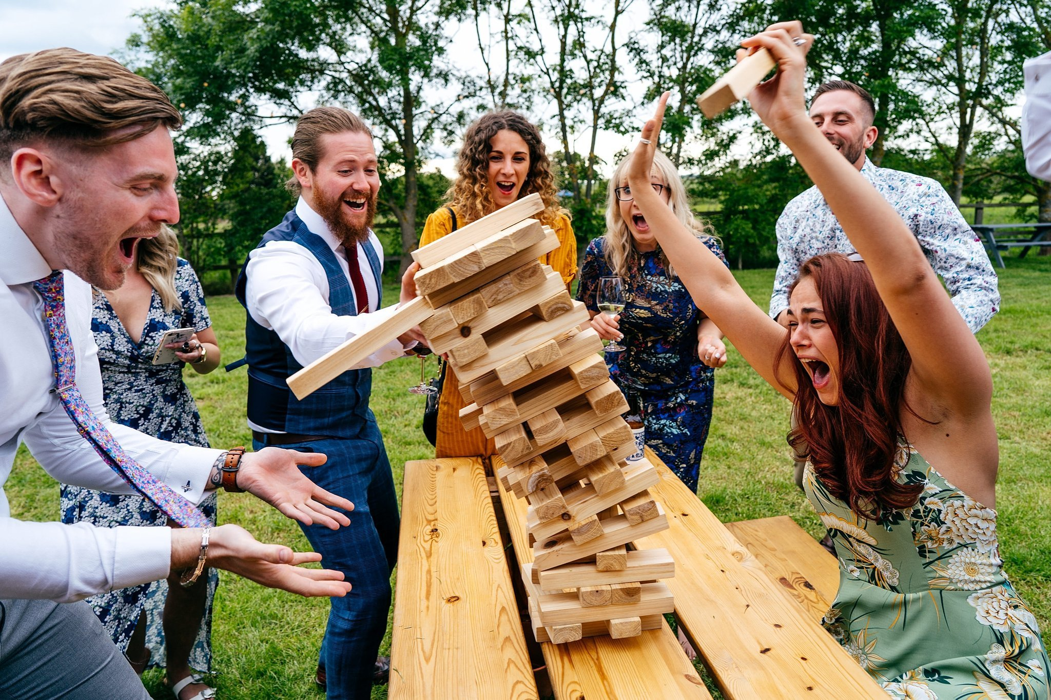 Jenga at fun wedding in bedfordshire