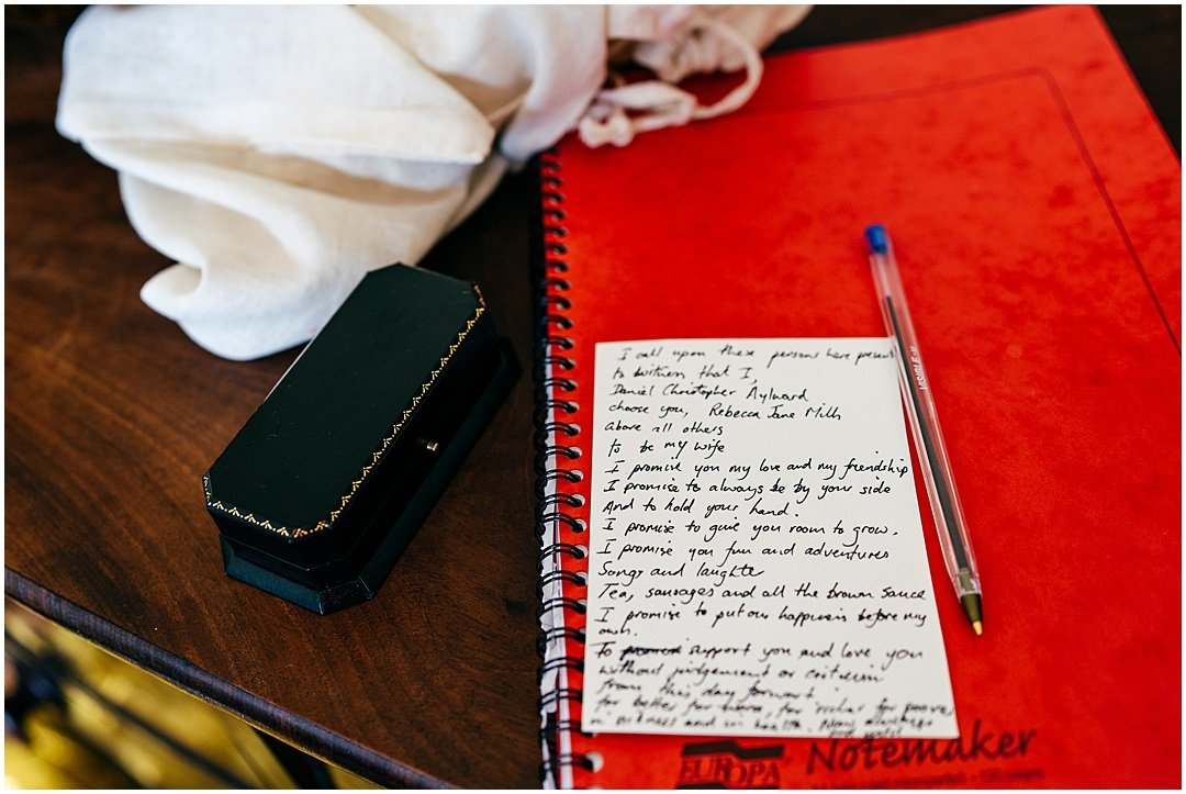 Personal vows at Sparkford Hall wedding