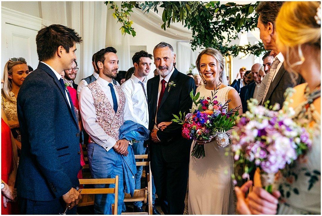 Bride entrance at Sparkford Hall Wedding ceremony