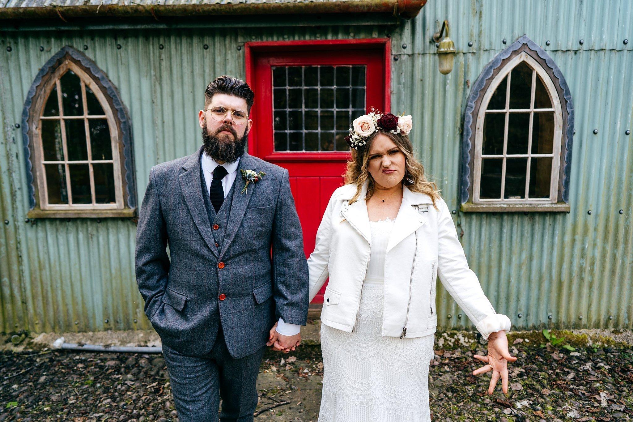 Alternative couple at Walcot Hall Wedding