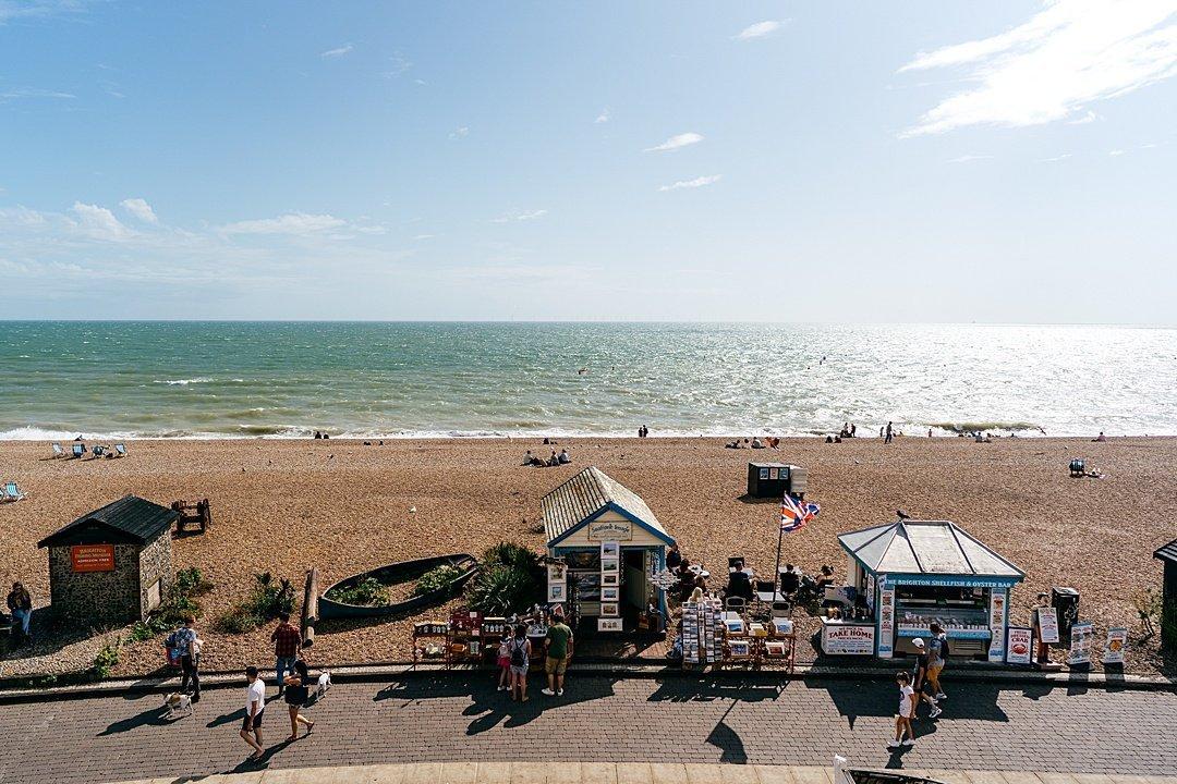 A postcard of Brighton Beach Scenes