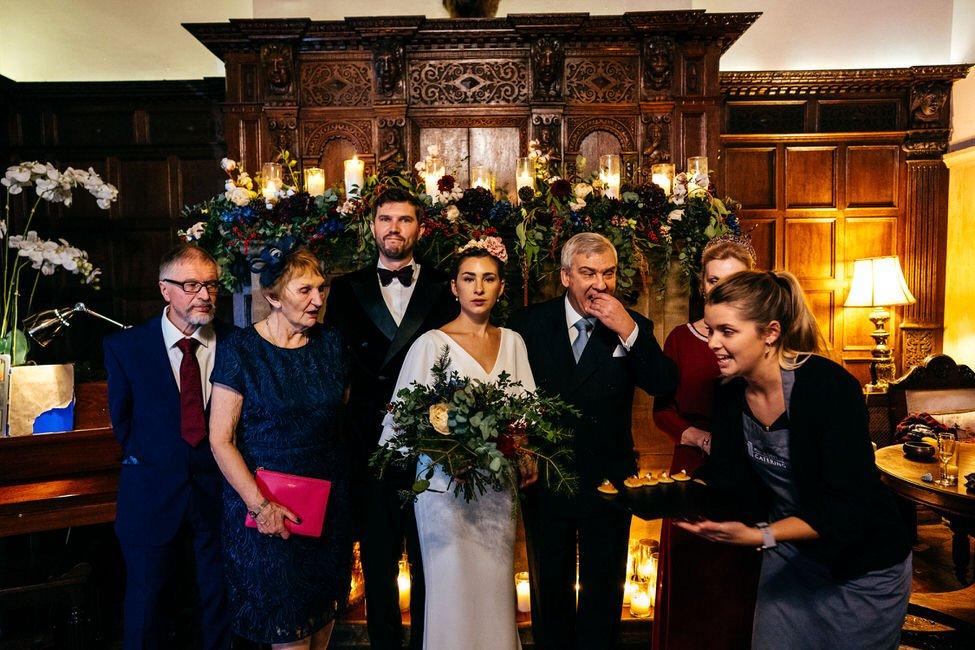 Outtake from family group photo at Huntsham Court Winter Wedding in Devon