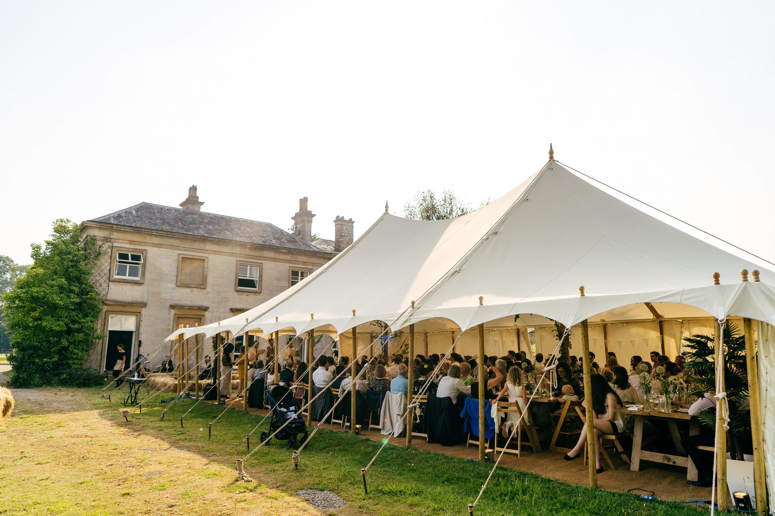 Marquee set up in grounds of Sparkford Hall Wedding that can seat 250 people